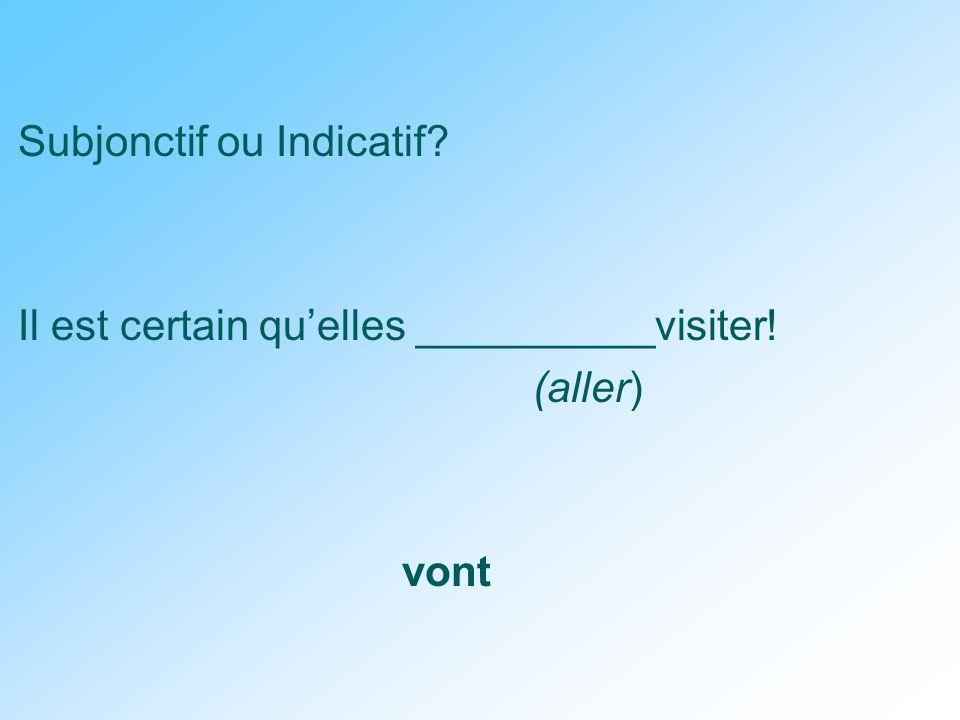 Subjonctif ou Indicatif Il est certain qu'elles __________visiter! (aller) vont