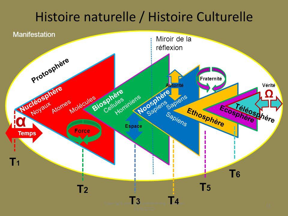 L'histoire culturelle miroir de l'histoire naturelle Doués de réflexion les humains vont peu à peu comprendre la nature de leur situation, se désaliéner des partis pris de la nature, s'humaniser et s'accorder librement dans des domaines de plus en plus vastes.