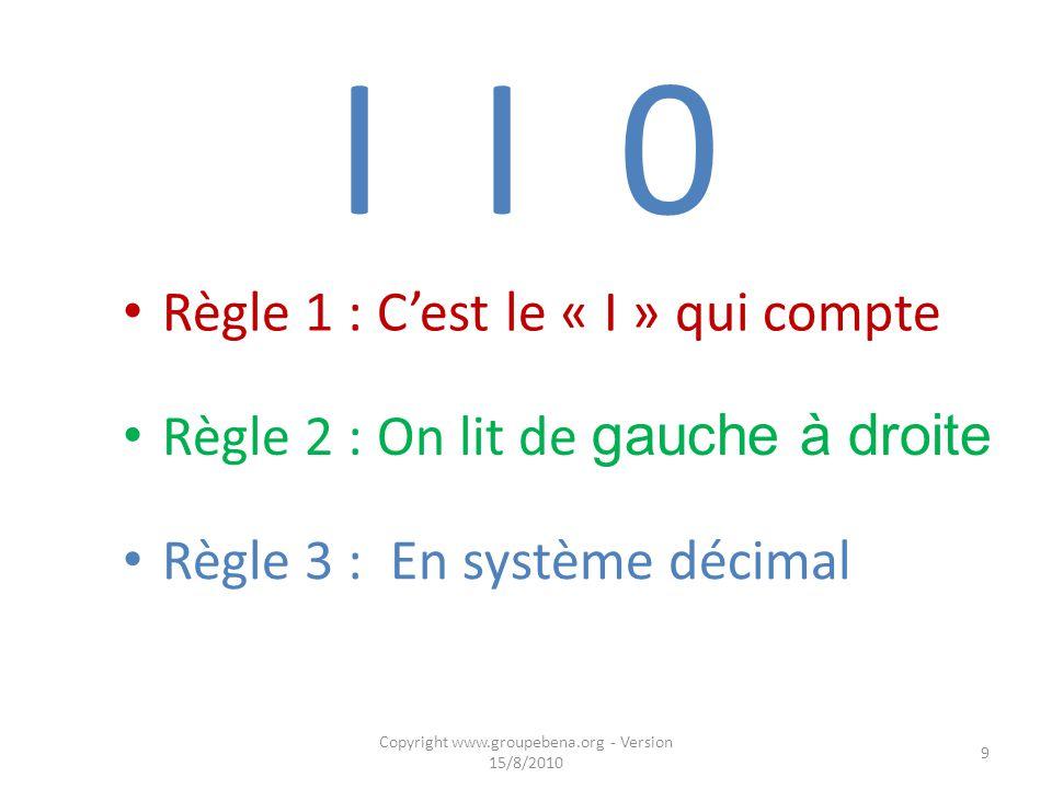 I I 0 Règle 1 : C'est le « I » qui compte Copyright www.groupebena.org - Version 15/8/2010 9 Règle 2 : On lit de gauche à droite Règle 3 : En système décimal