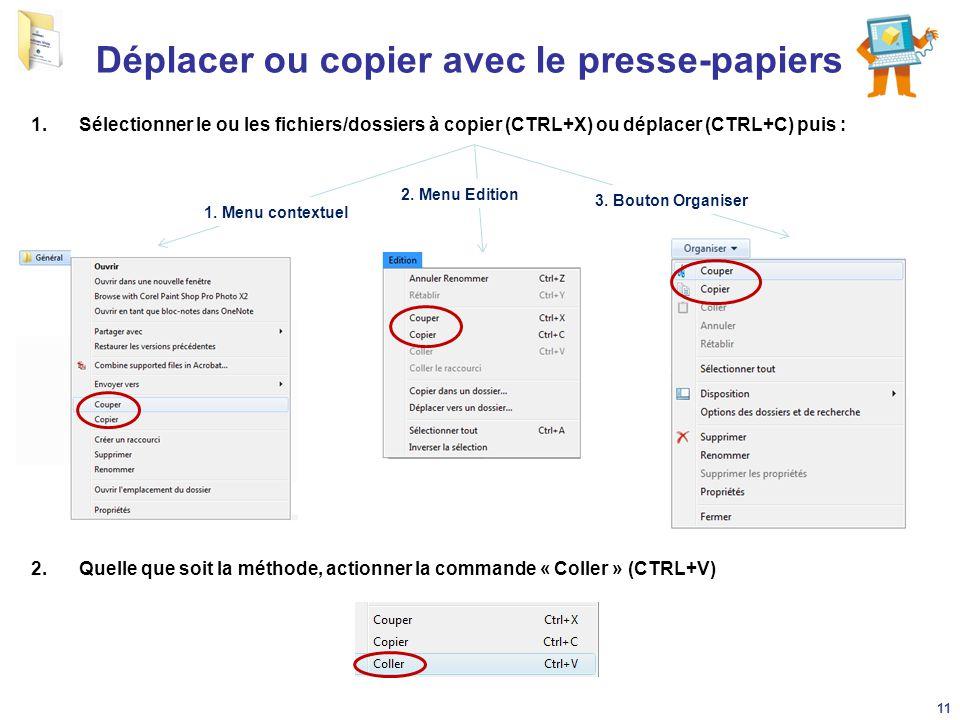 Déplacer ou copier avec le presse-papiers 1.Sélectionner le ou les fichiers/dossiers à copier (CTRL+X) ou déplacer (CTRL+C) puis : 1. Menu contextuel