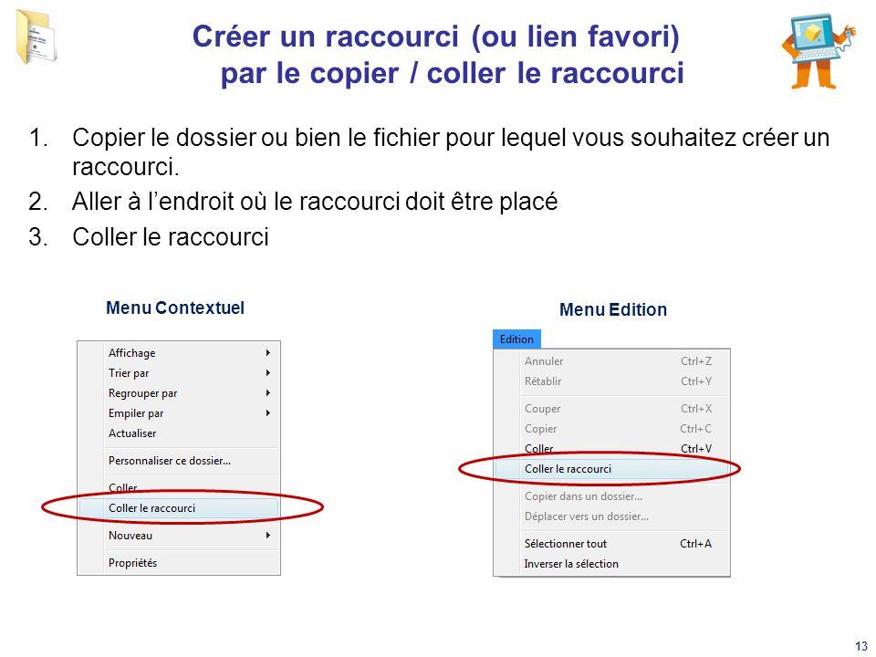 Créer un raccourci (ou lien favori) par le copier / coller le raccourci 1.Copier le dossier ou bien le fichier pour lequel vous souhaitez créer un rac