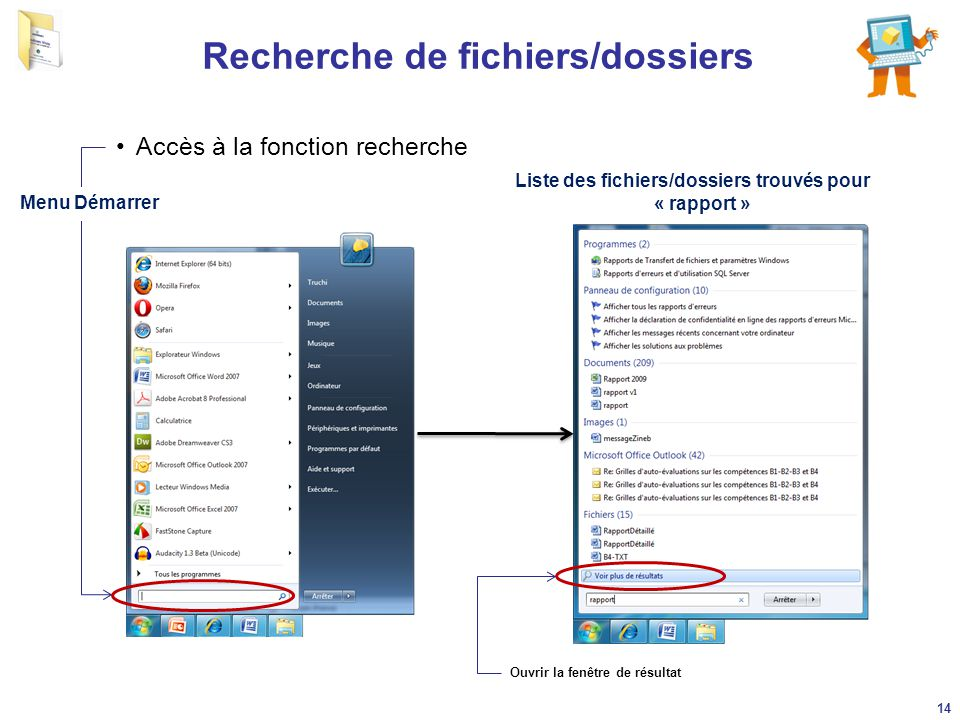 Recherche de fichiers/dossiers Accès à la fonction recherche Menu Démarrer 14 Liste des fichiers/dossiers trouvés pour « rapport » Ouvrir la fenêtre d