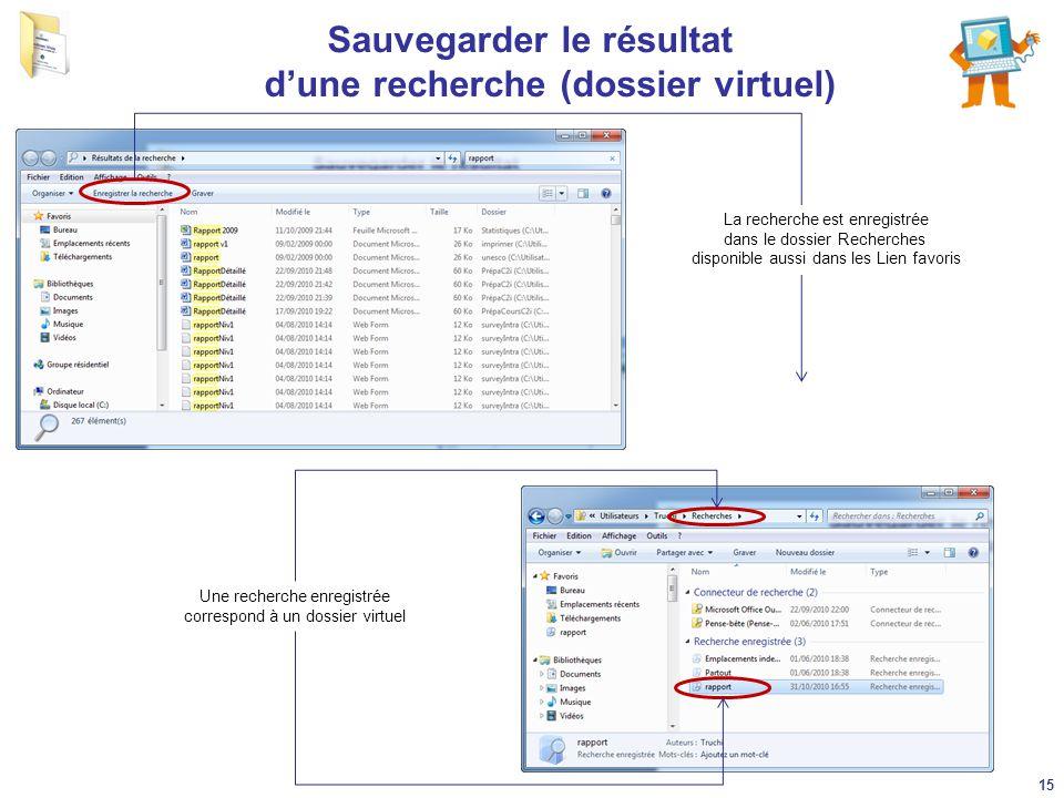 Sauvegarder le résultat d'une recherche (dossier virtuel) La recherche est enregistrée dans le dossier Recherches disponible aussi dans les Lien favor