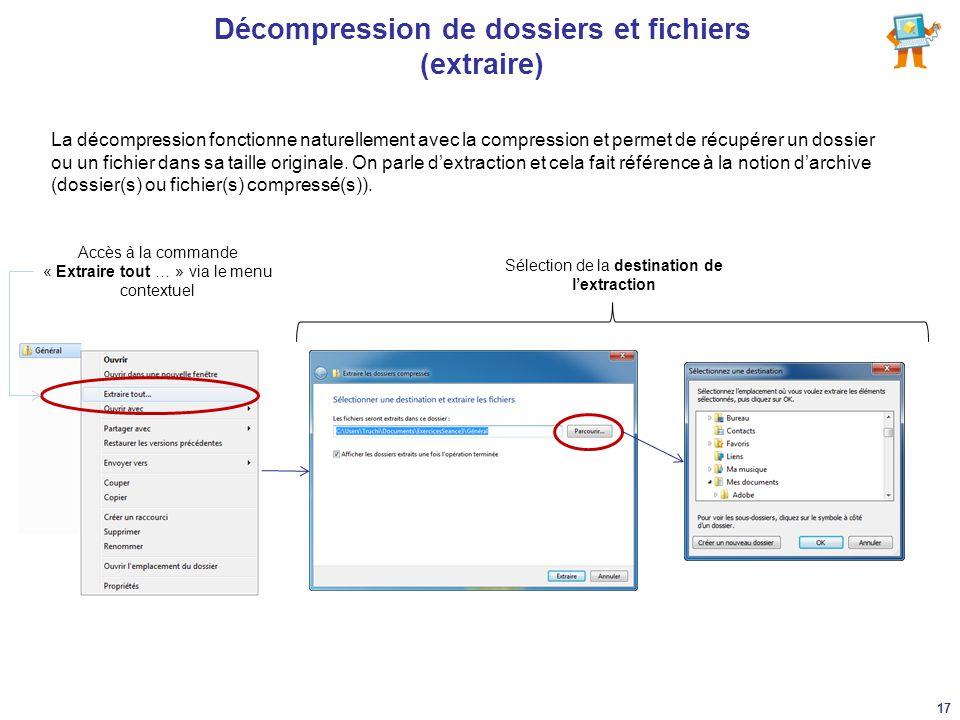 Décompression de dossiers et fichiers (extraire) La décompression fonctionne naturellement avec la compression et permet de récupérer un dossier ou un