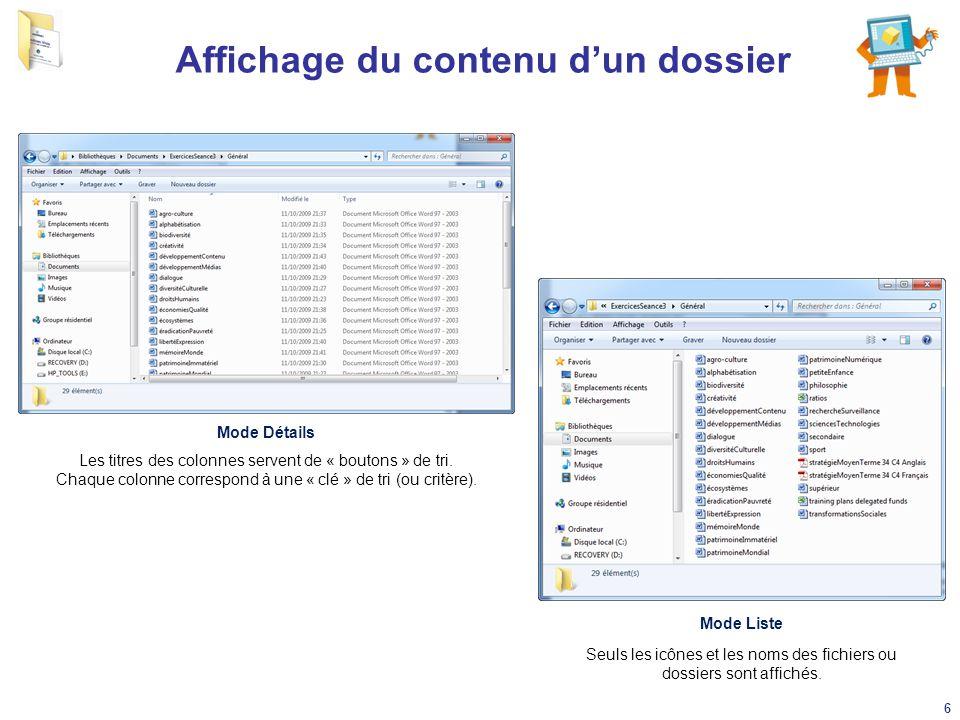 Affichage du contenu d'un dossier Mode Détails Mode Liste Les titres des colonnes servent de « boutons » de tri. Chaque colonne correspond à une « clé