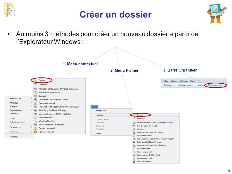 Créer un dossier Au moins 3 méthodes pour créer un nouveau dossier à partir de l'Explorateur Windows : 1. Menu contextuel 2. Menu Fichier 3. Barre Org