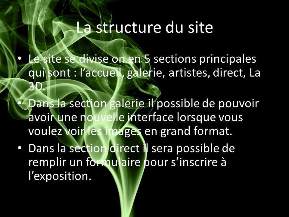 La structure du site Le site se divise on en 5 sections principales qui sont : l'accueil, galerie, artistes, direct, La 3D. Dans la section galerie il