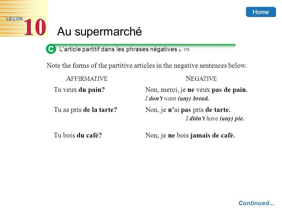 Home Au supermarché 10 LEÇON C L'article partitif dans les phrases négatives p. 170 Continued... Note the forms of the partitive articles in the negat