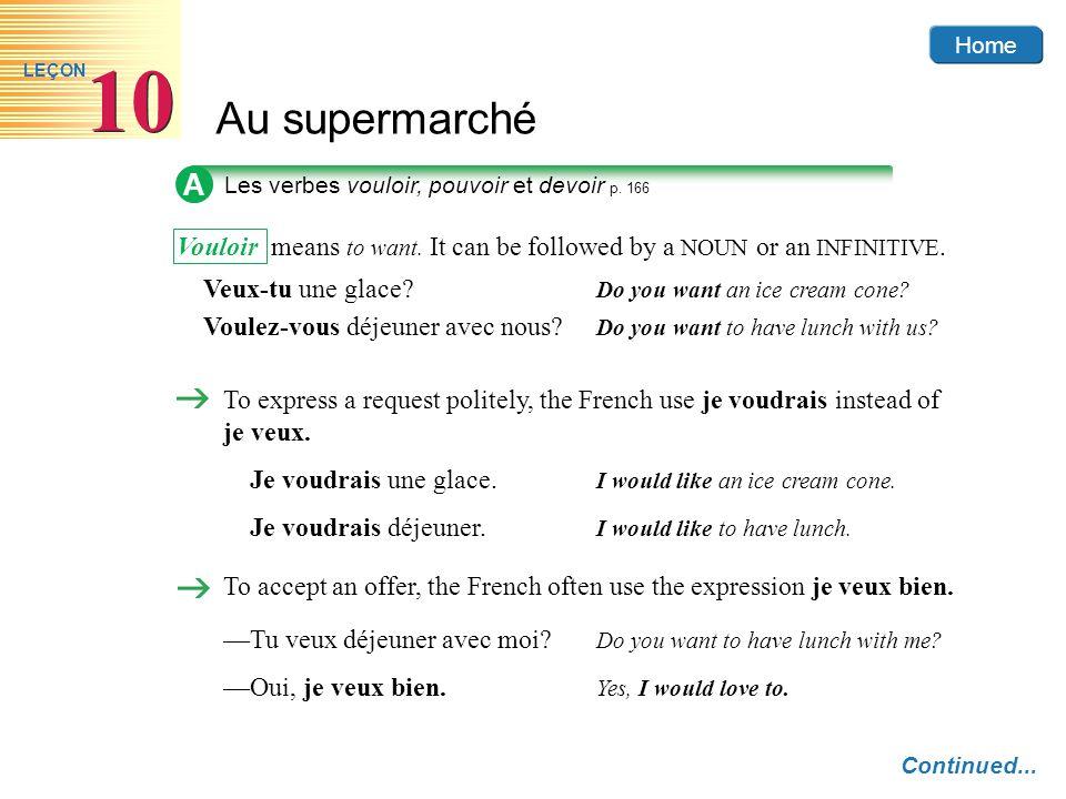 Home Au supermarché 10 LEÇON A Les verbes vouloir, pouvoir et devoir p. 166 Continued... Vouloir means to want. It can be followed by a NOUN or an INF