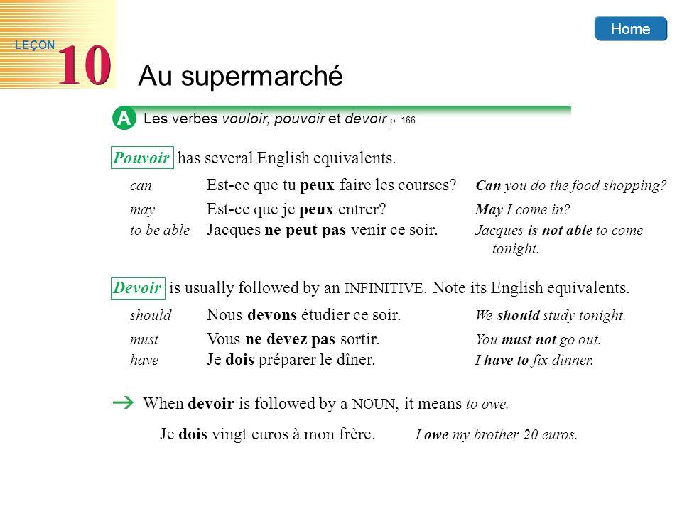 Home Au supermarché 10 LEÇON A Les verbes vouloir, pouvoir et devoir p. 166 Pouvoir has several English equivalents. can Est-ce que tu peux faire les
