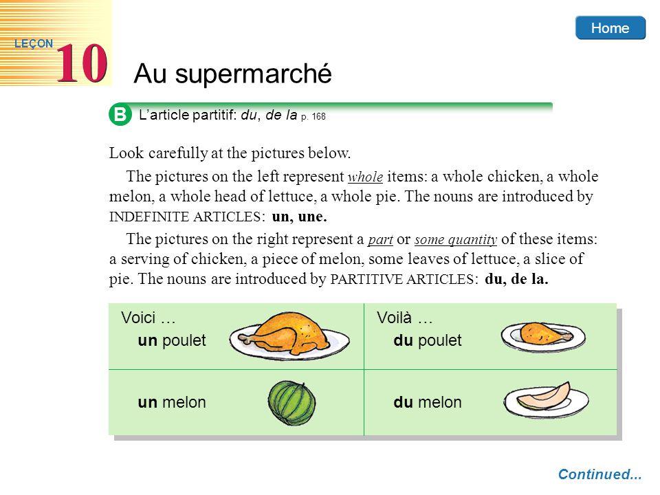 Home Au supermarché 10 LEÇON B L'article partitif: du, de la p.