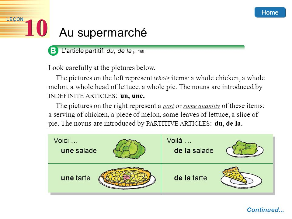 Home Au supermarché 10 LEÇON B L'article partitif: du, de la p. 168 Look carefully at the pictures below. The pictures on the right represent a part o