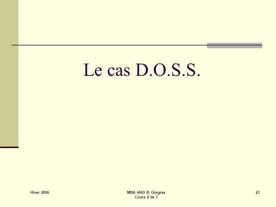 Hiver 2006 MBA 6669 B. Gingras Cours 2 de 3 23 Le cas D.O.S.S.
