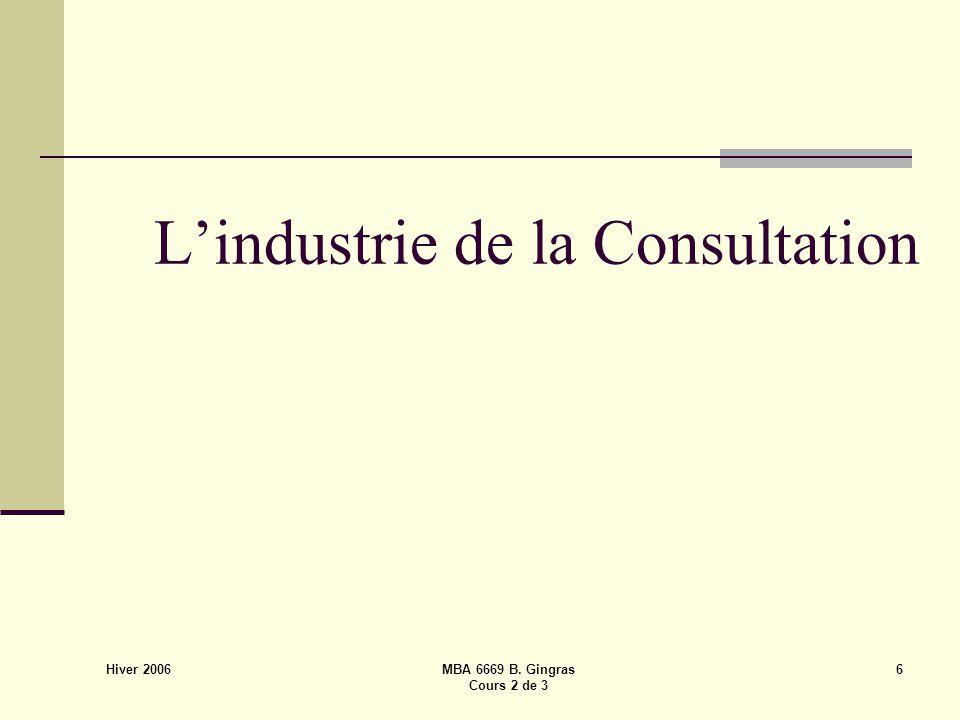 Hiver 2006 MBA 6669 B. Gingras Cours 2 de 3 6 L'industrie de la Consultation