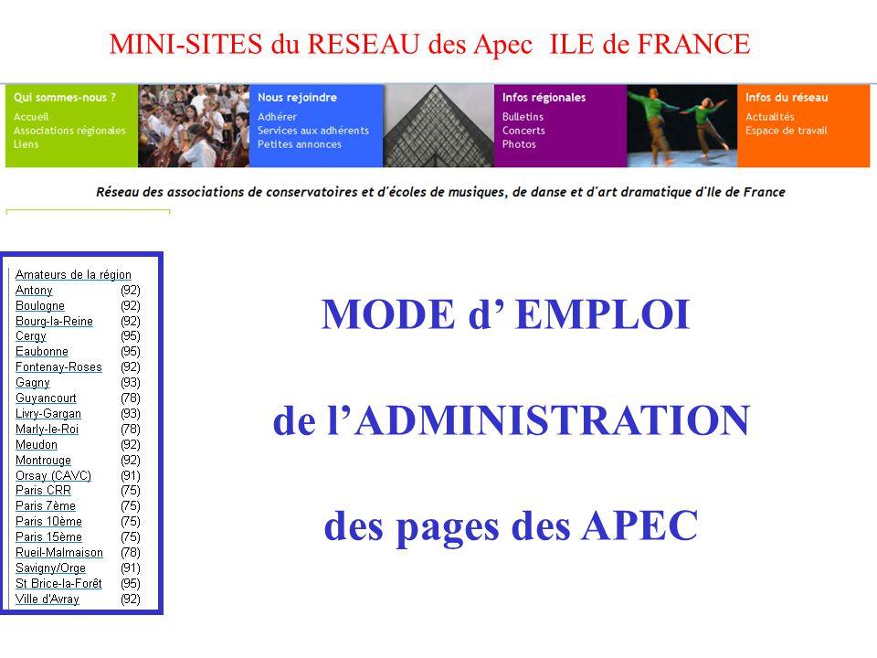 MINI-SITES du RESEAU des Apec ILE de FRANCE MODE d' EMPLOI de l'ADMINISTRATION des pages des APEC