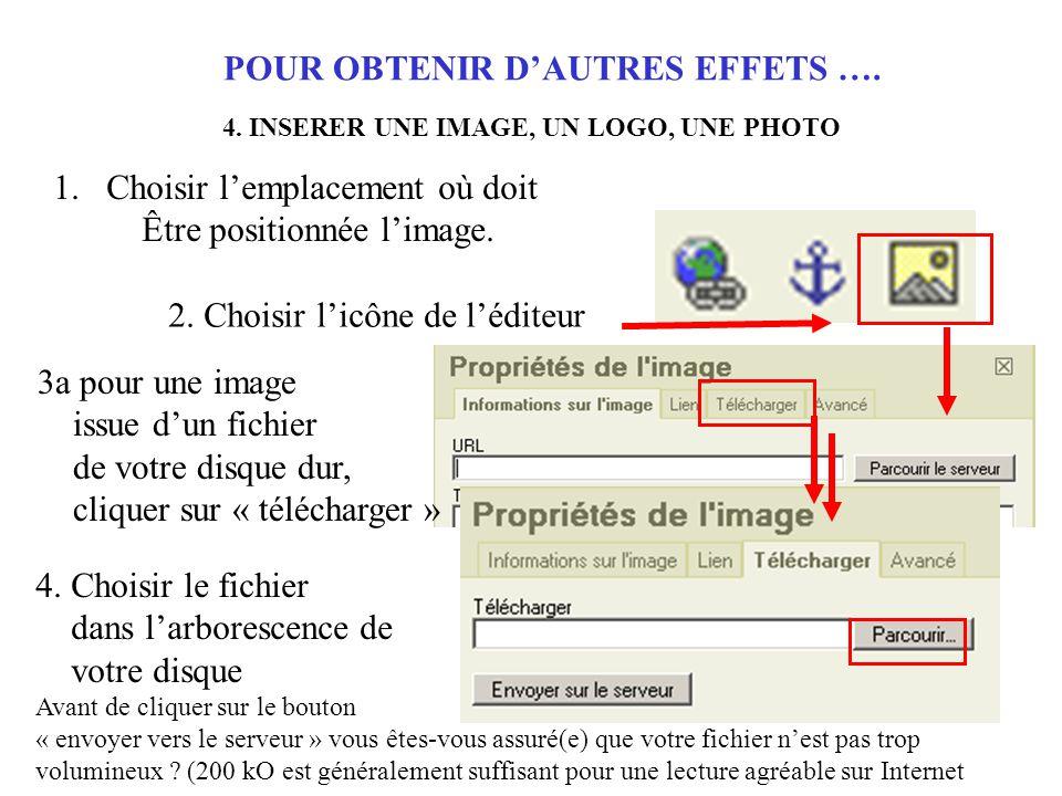 POUR OBTENIR D'AUTRES EFFETS …. 4.