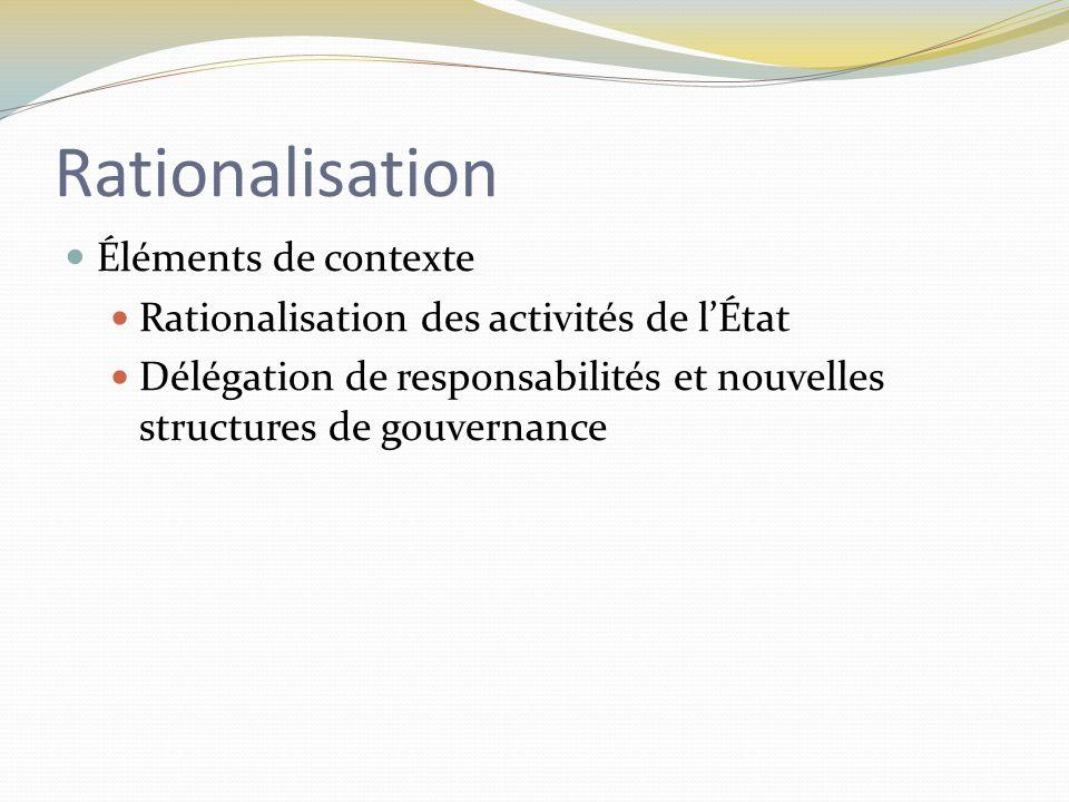 Rationalisation Éléments de contexte Rationalisation des activités de l'État Délégation de responsabilités et nouvelles structures de gouvernance