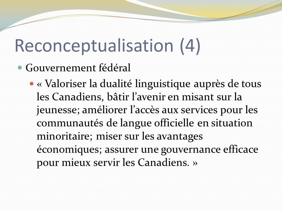 Reconceptualisation (4) Gouvernement fédéral « Valoriser la dualité linguistique auprès de tous les Canadiens, bâtir l'avenir en misant sur la jeunesse; améliorer l'accès aux services pour les communautés de langue officielle en situation minoritaire; miser sur les avantages économiques; assurer une gouvernance efficace pour mieux servir les Canadiens.