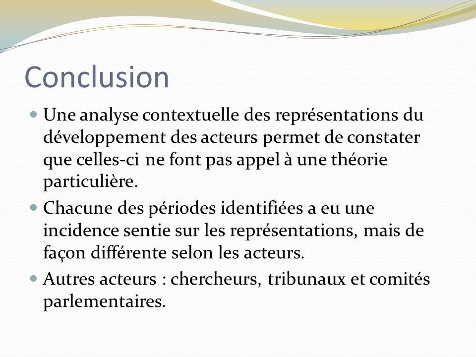Conclusion Une analyse contextuelle des représentations du développement des acteurs permet de constater que celles-ci ne font pas appel à une théorie particulière.