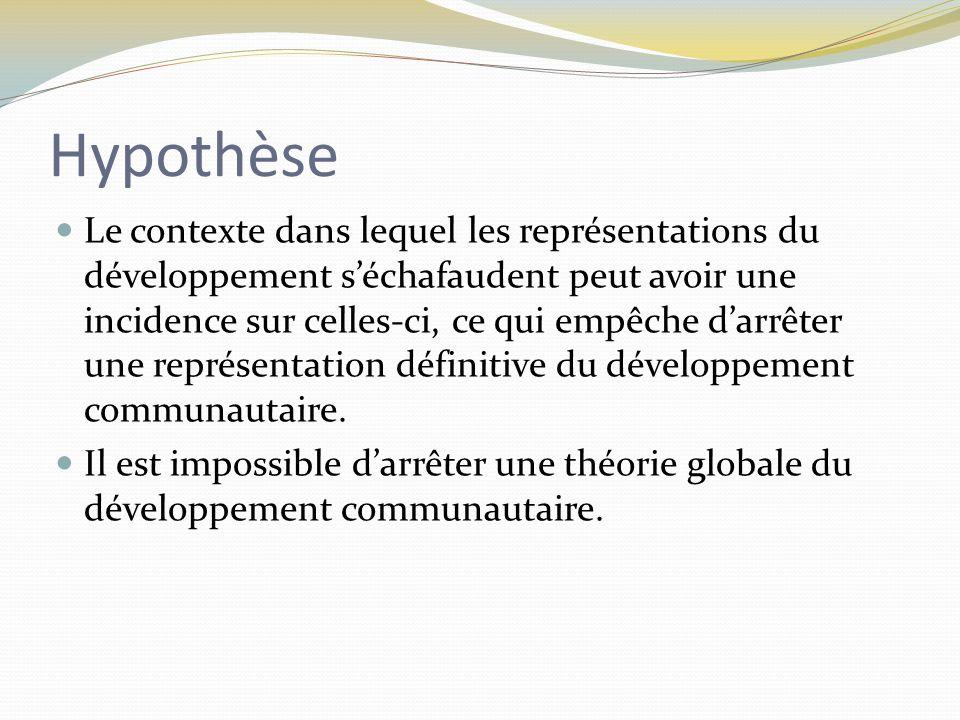 Hypothèse Le contexte dans lequel les représentations du développement s'échafaudent peut avoir une incidence sur celles-ci, ce qui empêche d'arrêter une représentation définitive du développement communautaire.