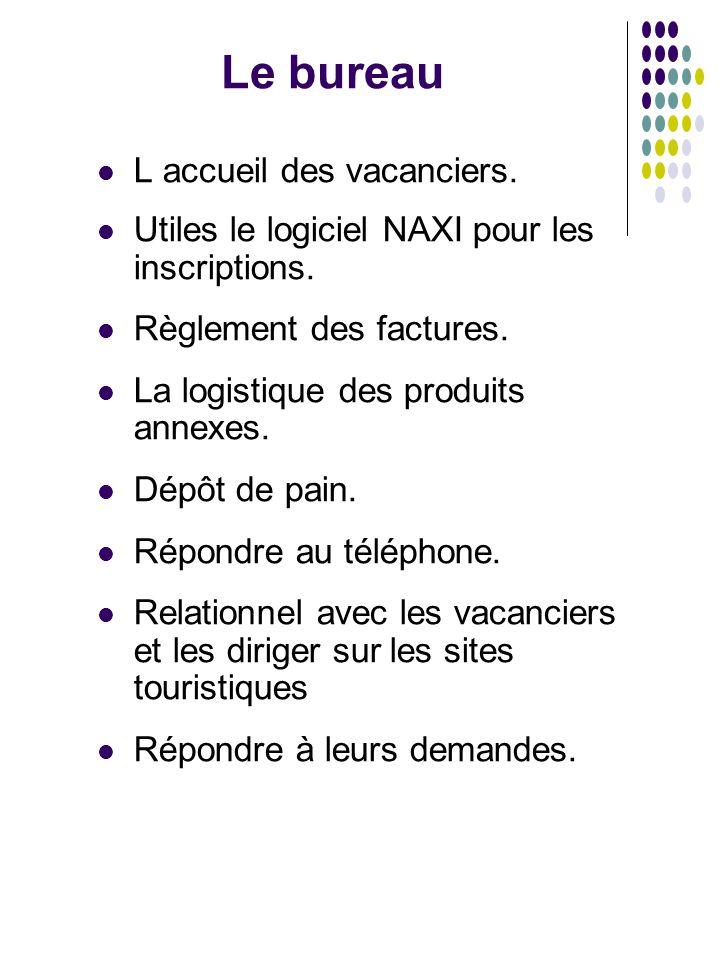 Le bureau L accueil des vacanciers. Utiles le logiciel NAXI pour les inscriptions. Règlement des factures. La logistique des produits annexes. Dépôt d