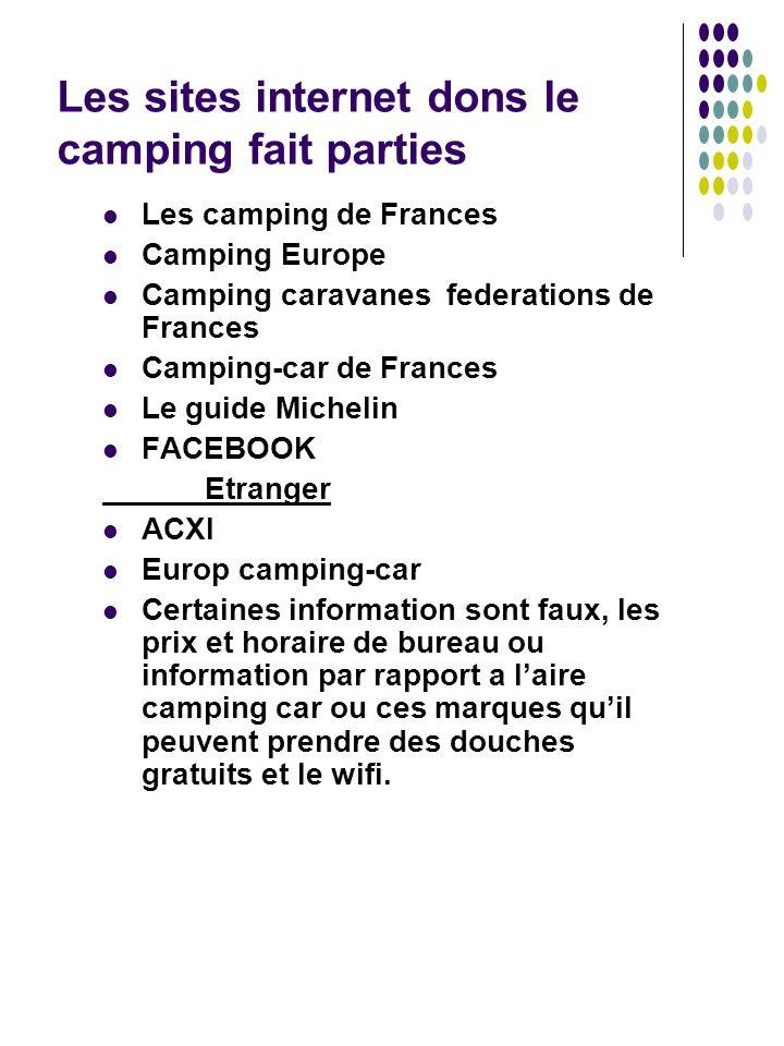 Les sites internet dons le camping fait parties Les camping de Frances Camping Europe Camping caravanes federations de Frances Camping-car de Frances