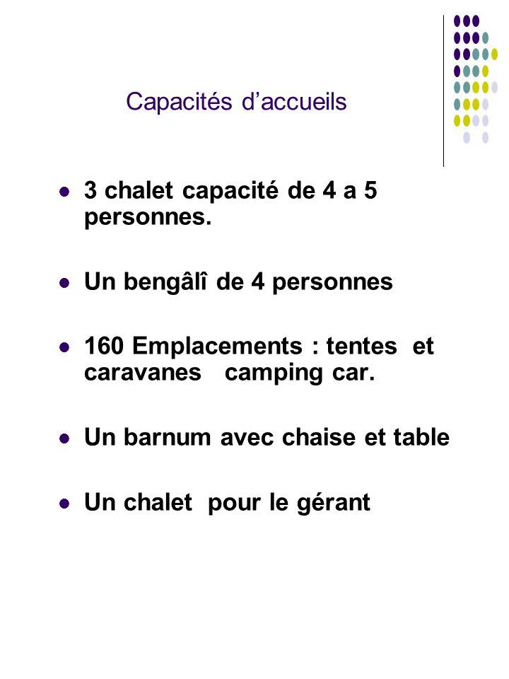 Capacités d'accueils 3 chalet capacité de 4 a 5 personnes. Un bengâlî de 4 personnes 160 Emplacements : tentes et caravanes camping car. Un barnum ave