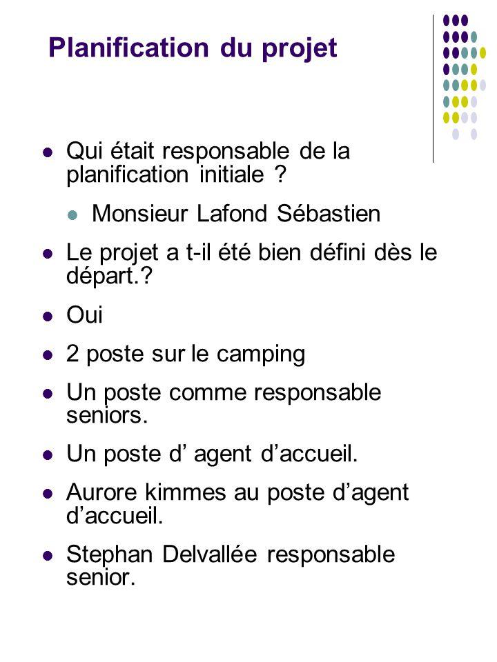 Planification du projet Qui était responsable de la planification initiale ? Monsieur Lafond Sébastien Le projet a t-il été bien défini dès le départ.