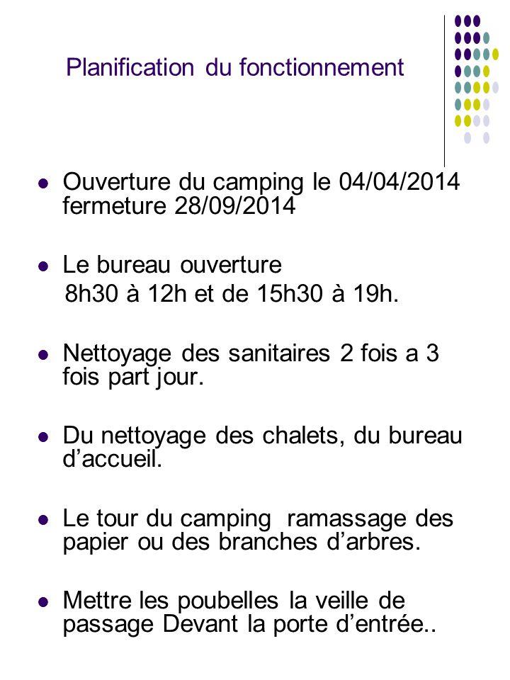 Ouverture du camping le 04/04/2014 fermeture 28/09/2014 Le bureau ouverture 8h30 à 12h et de 15h30 à 19h. Nettoyage des sanitaires 2 fois a 3 fois par
