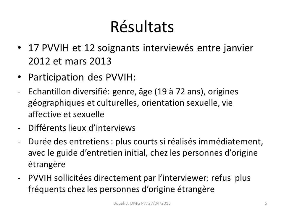 Résultats 17 PVVIH et 12 soignants interviewés entre janvier 2012 et mars 2013 Participation des PVVIH: -Echantillon diversifié: genre, âge (19 à 72 ans), origines géographiques et culturelles, orientation sexuelle, vie affective et sexuelle -Différents lieux d'interviews -Durée des entretiens : plus courts si réalisés immédiatement, avec le guide d'entretien initial, chez les personnes d'origine étrangère -PVVIH sollicitées directement par l'interviewer: refus plus fréquents chez les personnes d'origine étrangère Bouali J, DMG P7, 27/04/20135