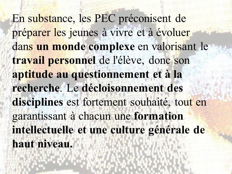 Dans cette optique, les professeurs de sciences du Lycée Jean-Piaget ont élaboré une structure d enseignement par construction de démarches interdisciplinaires.