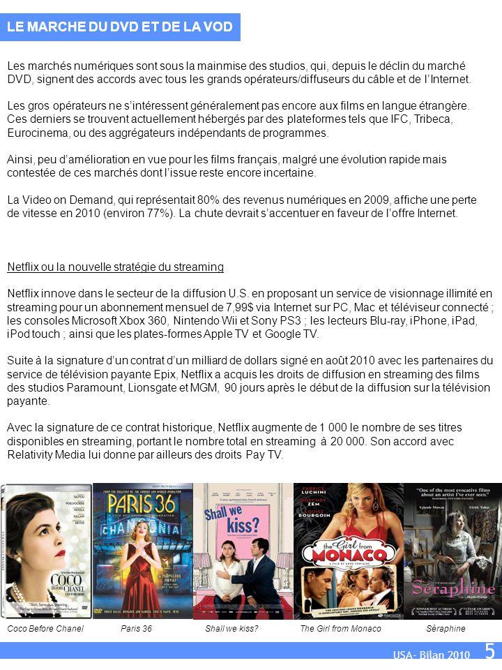 USA- Bilan 2010 5 Les marchés numériques sont sous la mainmise des studios, qui, depuis le déclin du marché DVD, signent des accords avec tous les grands opérateurs/diffuseurs du câble et de l'Internet.