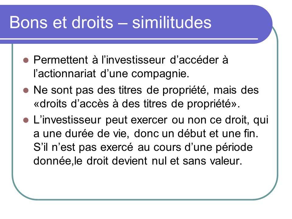 Bons et droits – similitudes Permettent à l'investisseur d'accéder à l'actionnariat d'une compagnie.