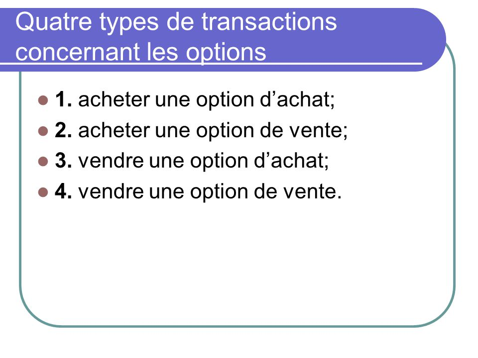 Quatre types de transactions concernant les options 1.