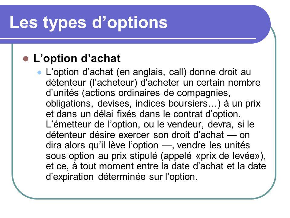Les types d'options L'option d'achat L'option d'achat (en anglais, call) donne droit au détenteur (l'acheteur) d'acheter un certain nombre d'unités (actions ordinaires de compagnies, obligations, devises, indices boursiers…) à un prix et dans un délai fixés dans le contrat d'option.