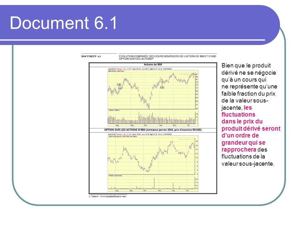 Document 6.1 Bien que le produit dérivé ne se négocie qu'à un cours qui ne représente qu'une faible fraction du prix de la valeur sous- jacente, les fluctuations dans le prix du produit dérivé seront d'un ordre de grandeur qui se rapprochera des fluctuations de la valeur sous-jacente.