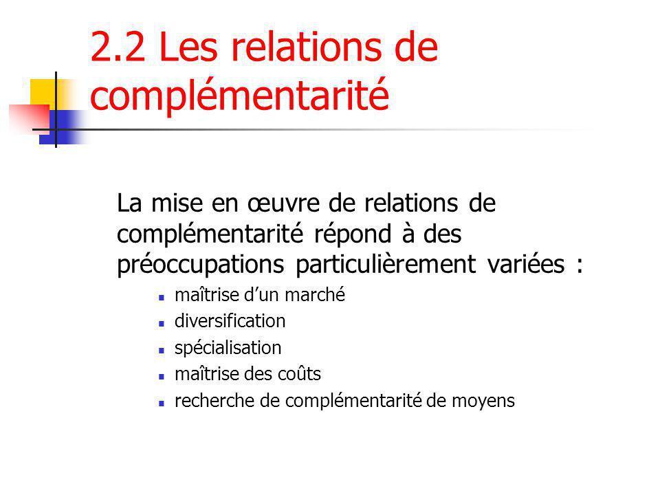 2.2 Les relations de complémentarité La mise en œuvre de relations de complémentarité répond à des préoccupations particulièrement variées : maîtrise