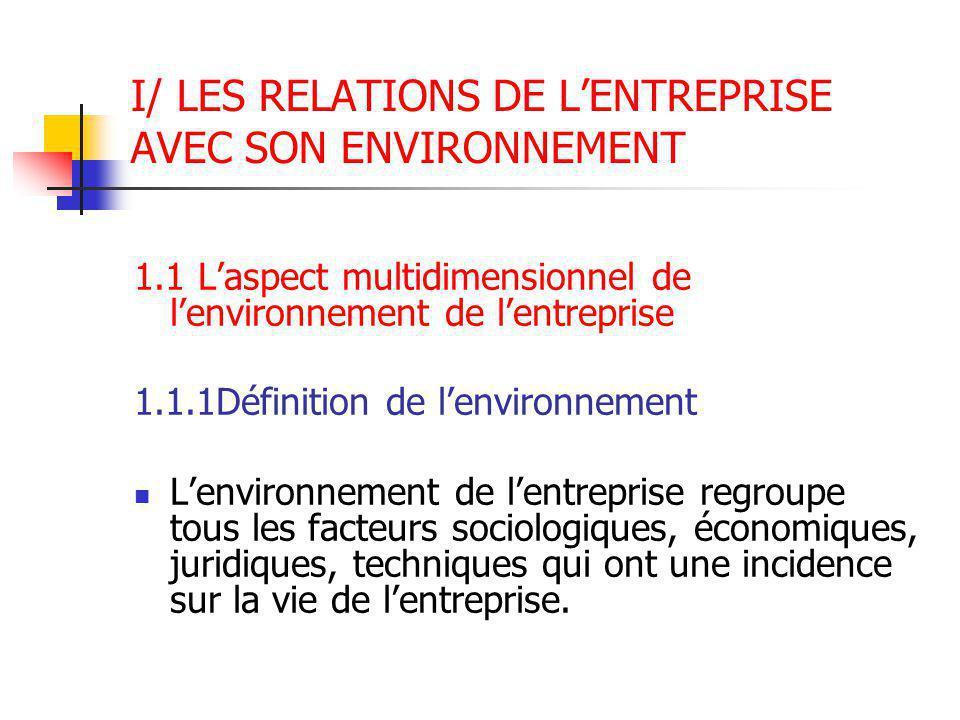 I/ LES RELATIONS DE L'ENTREPRISE AVEC SON ENVIRONNEMENT 1.1 L'aspect multidimensionnel de l'environnement de l'entreprise 1.1.1Définition de l'environ