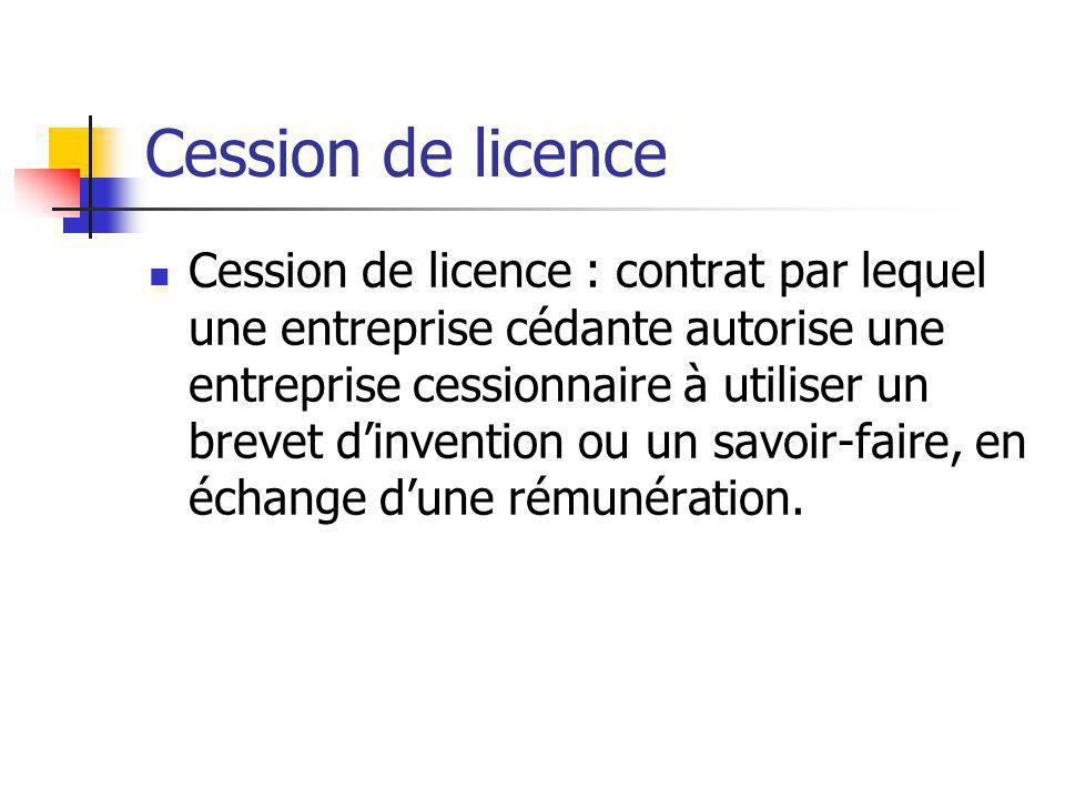 Cession de licence Cession de licence : contrat par lequel une entreprise cédante autorise une entreprise cessionnaire à utiliser un brevet d'inventio