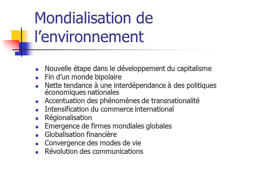 Mondialisation de l'environnement Nouvelle étape dans le développement du capitalisme Fin d'un monde bipolaire Nette tendance à une interdépendance à