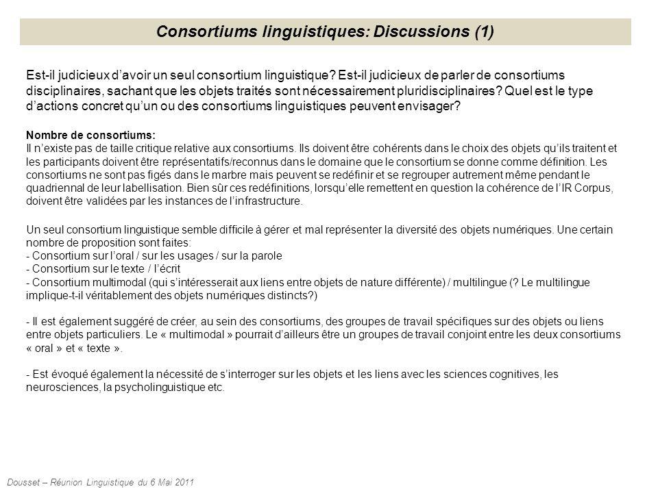 Consortiums linguistiques: Discussions (1) Est-il judicieux d'avoir un seul consortium linguistique? Est-il judicieux de parler de consortiums discipl