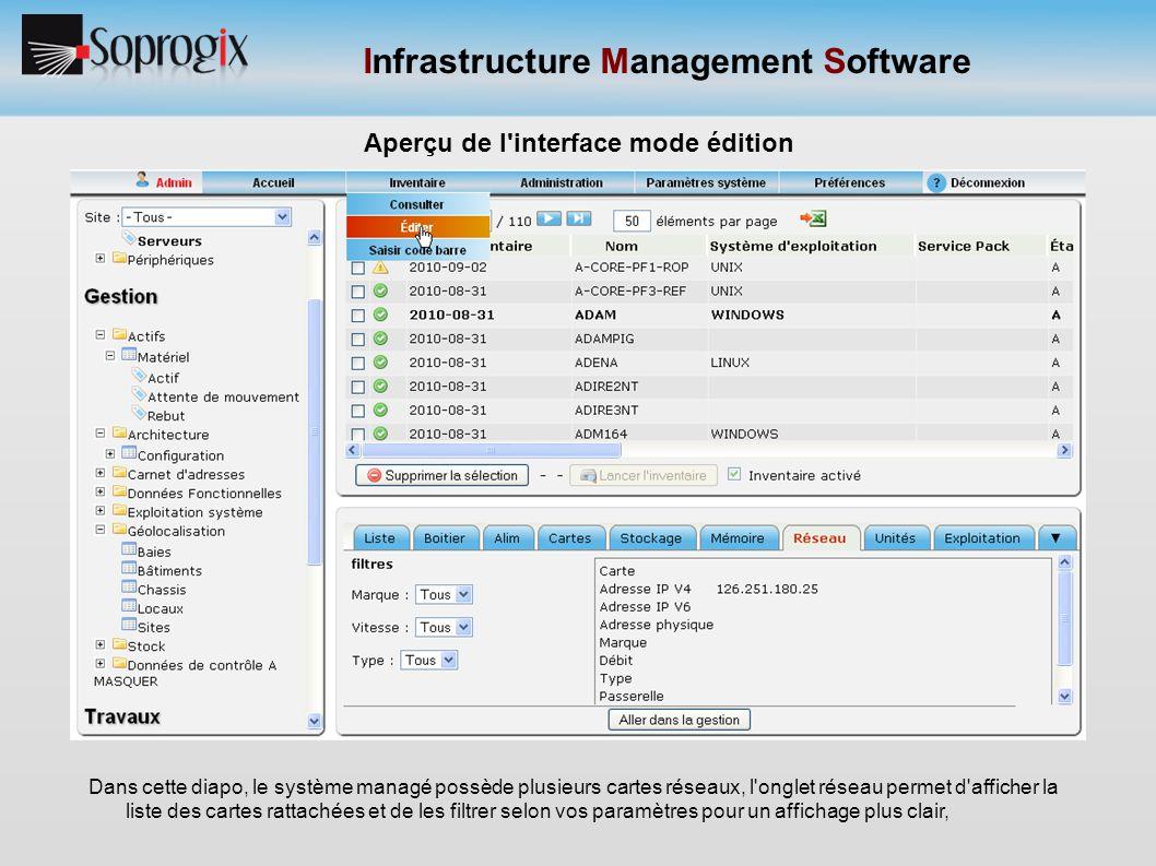 Infrastructure Management Software Aperçu de l'interface mode édition Dans cette diapo, le système managé possède plusieurs cartes réseaux, l'onglet r
