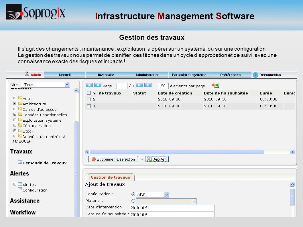 Infrastructure Management Software Gestion des travaux Il s'agit des changements, maintenance, exploitation à opérer sur un système, ou sur une config
