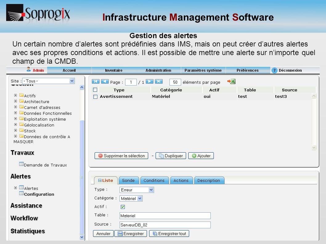 Infrastructure Management Software Gestion des alertes Un certain nombre d'alertes sont prédéfinies dans IMS, mais on peut créer d'autres alertes avec