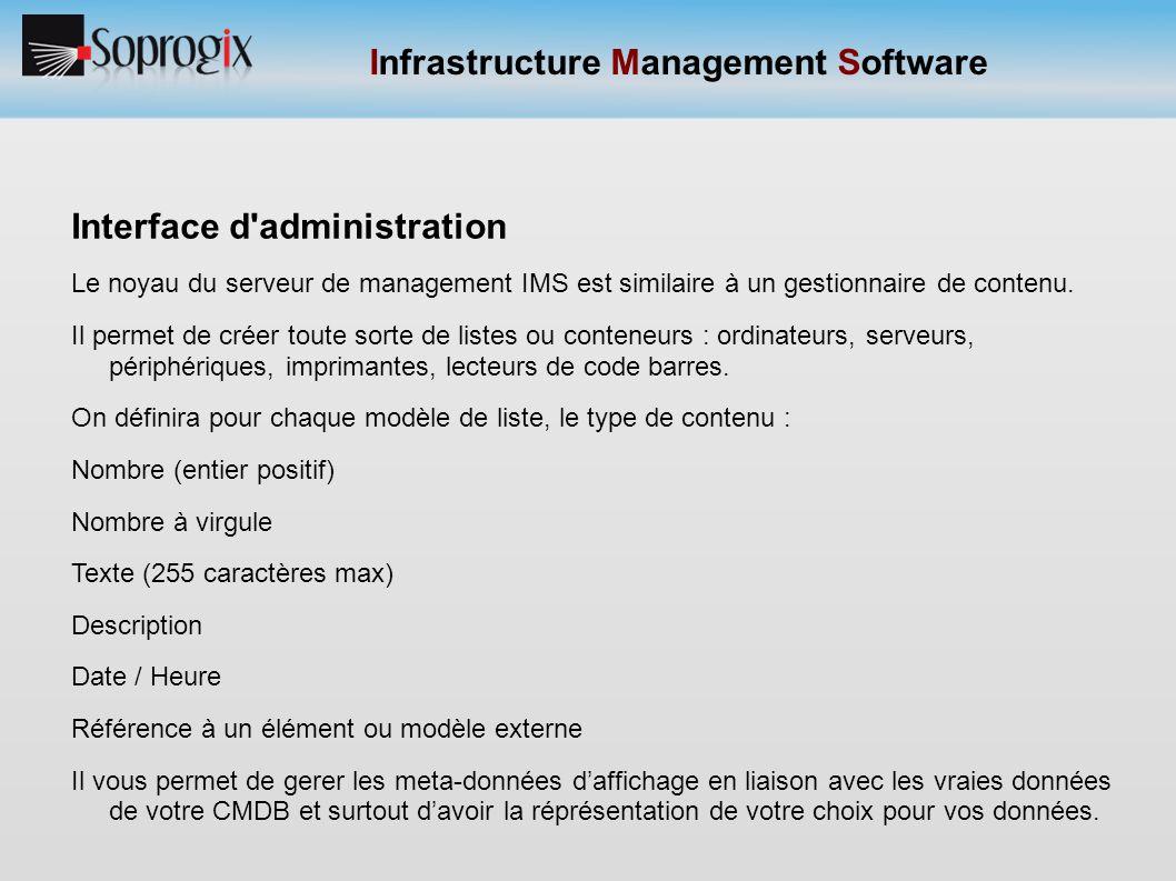 Infrastructure Management Software Interface d'administration Le noyau du serveur de management IMS est similaire à un gestionnaire de contenu. Il per
