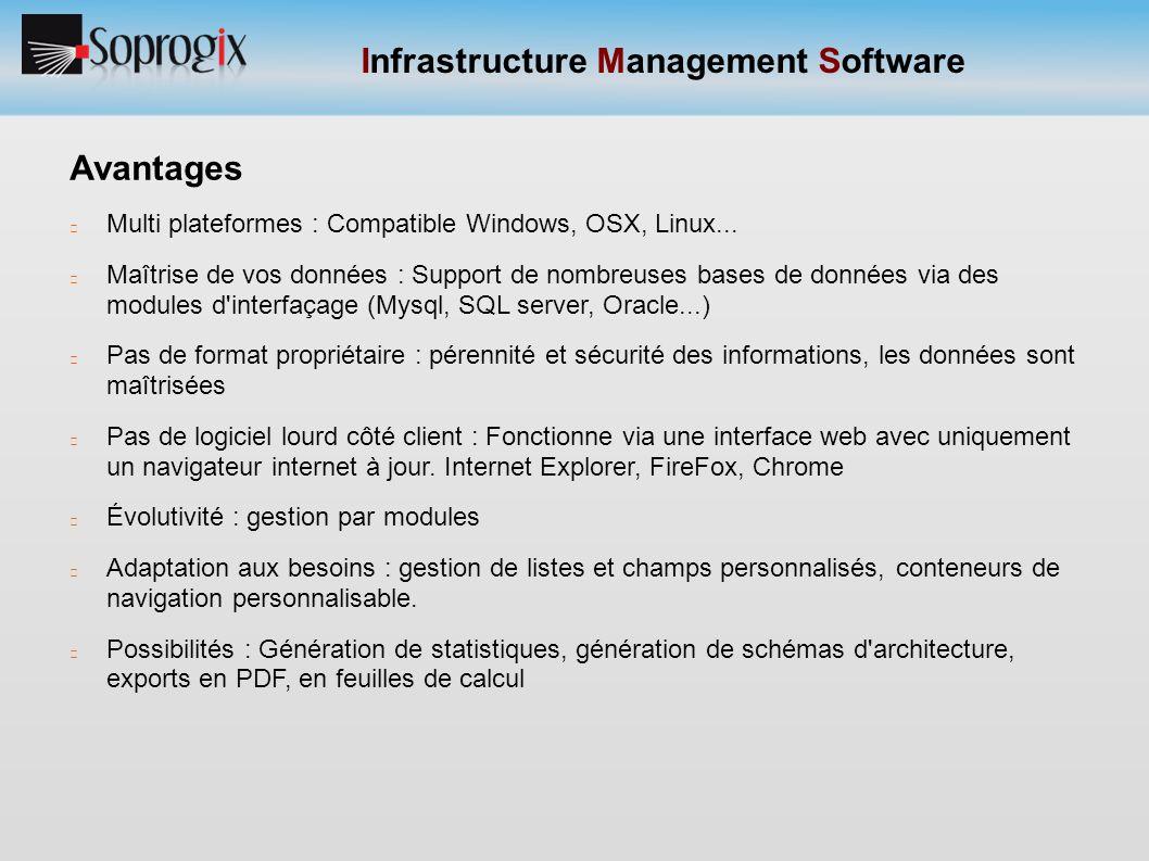 Infrastructure Management Software Avantages Nous n avons pas de flux de d inventaire à stocker Nous utilisons le concept de CMS : c est à dire que l'on affiche ce que l'on veut dans la navigation (l affichage est totalement dissocié de la donnée) La donnée ou le type de données est totalement manageable en dehors de celles qui constituent le cœur notre appli.
