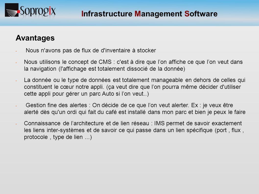 Infrastructure Management Software Avantages Nous n'avons pas de flux de d'inventaire à stocker Nous utilisons le concept de CMS : c'est à dire que l'