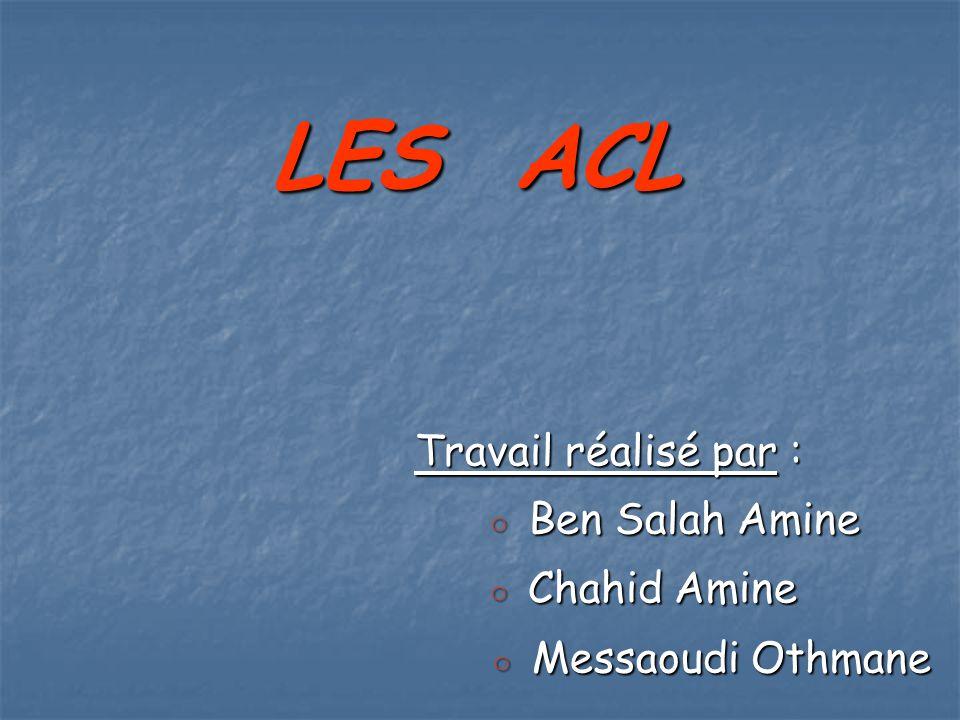 LES ACL Travail réalisé par : ◦ Ben Salah Amine ◦ Ben Salah Amine ◦ Chahid Amine ◦ Chahid Amine ◦ Messaoudi Othmane ◦ Messaoudi Othmane