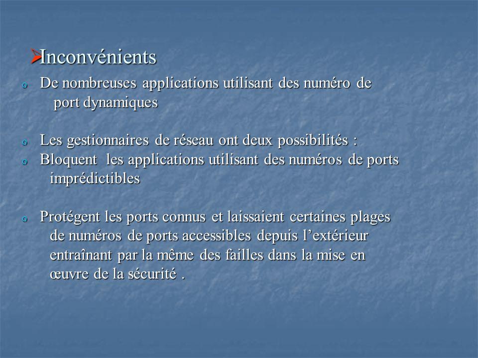  Inconvénients o De nombreuses applications utilisant des numéro de port dynamiques port dynamiques o Les gestionnaires de réseau ont deux possibilit