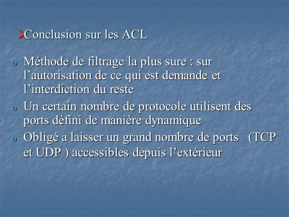  Conclusion sur les ACL o Méthode de filtrage la plus sure : sur l'autorisation de ce qui est demande et l'interdiction du reste o Un certain nombre